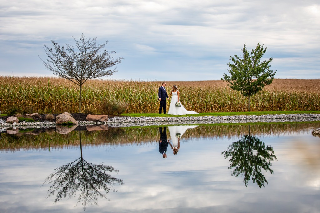 harvest view barn at hershey farms pond wedding photo
