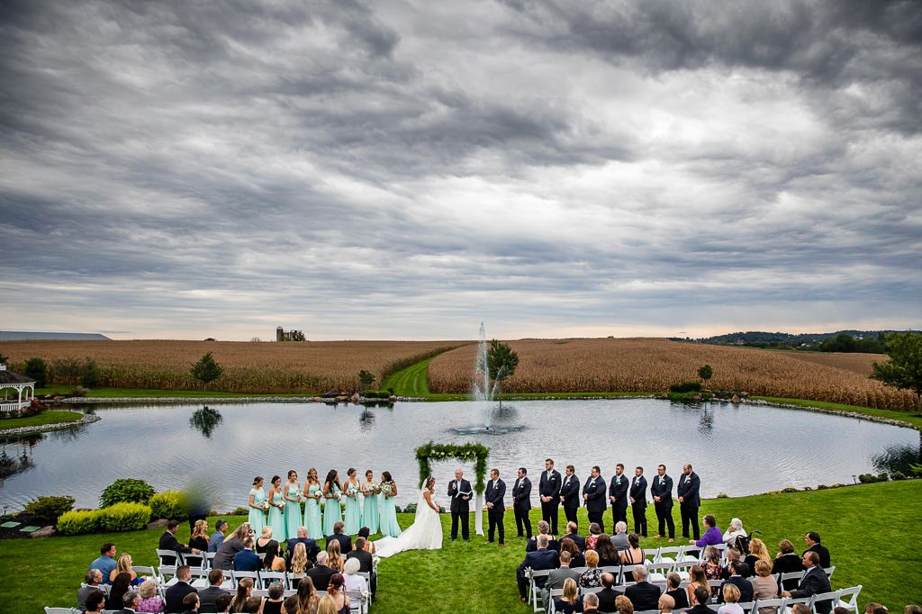 wedding ceremony from above at harvest view barn at hershey farms