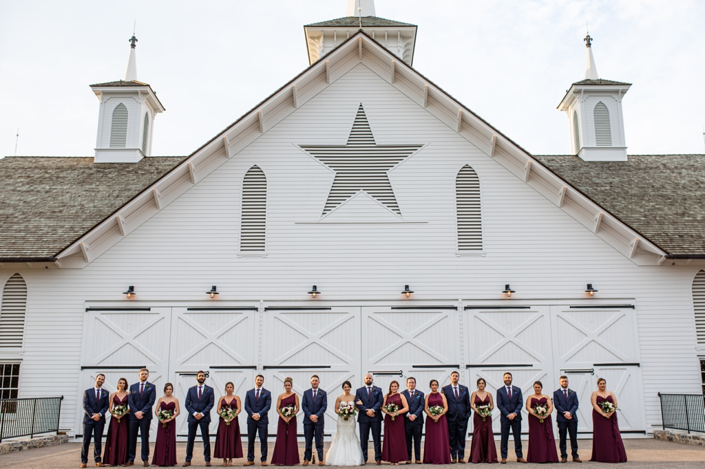 bridal party outside the star barn