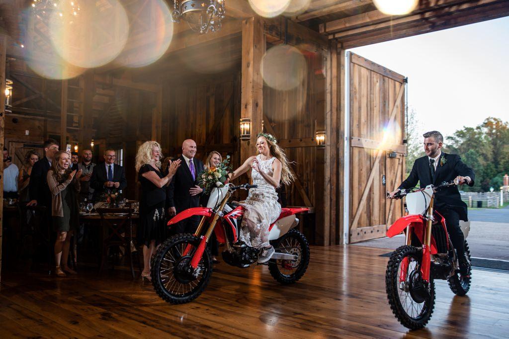 dirtbike entrance at the star barn wedding