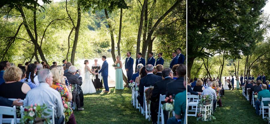A wedding ceremony at The Farm at Eagles Ridge