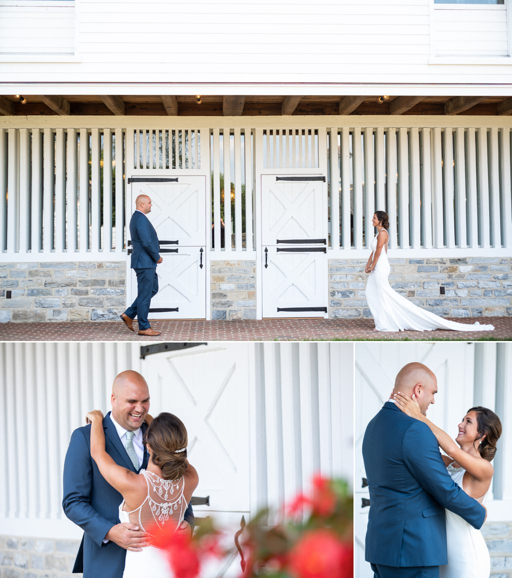 first look star barn wedding photo