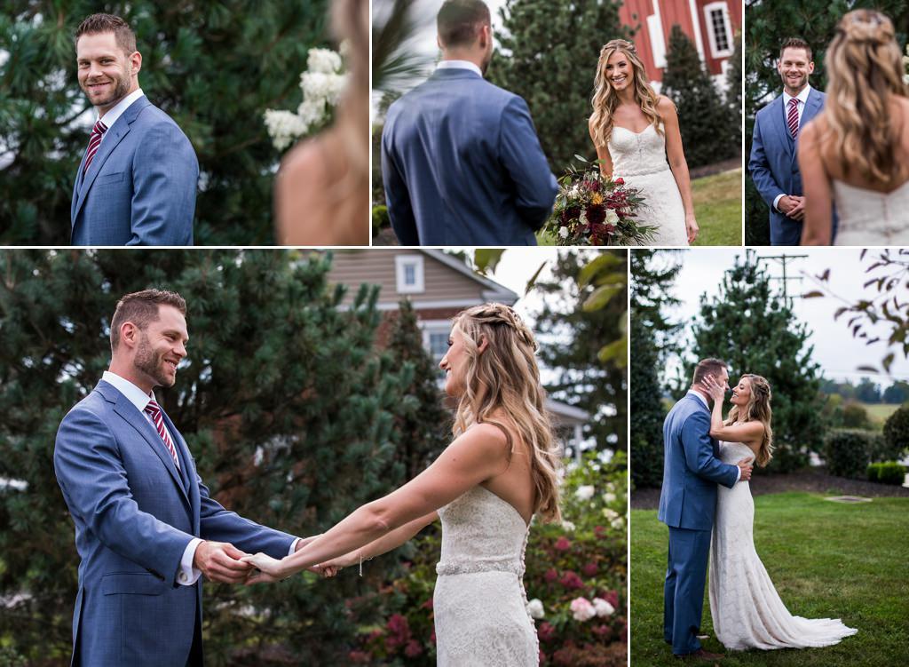 wedding first look at wyndridge farm