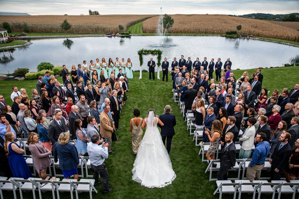 harvest view barn wedding-photo-bride-walking down aisle from above
