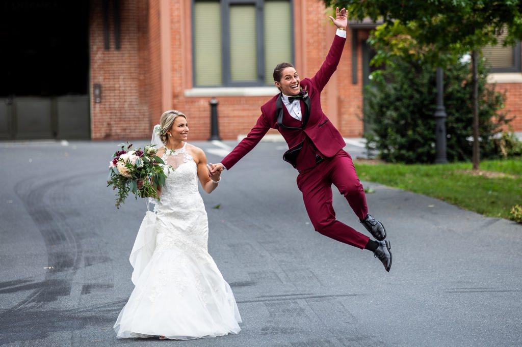 the cork facrory wedding photo excited couple