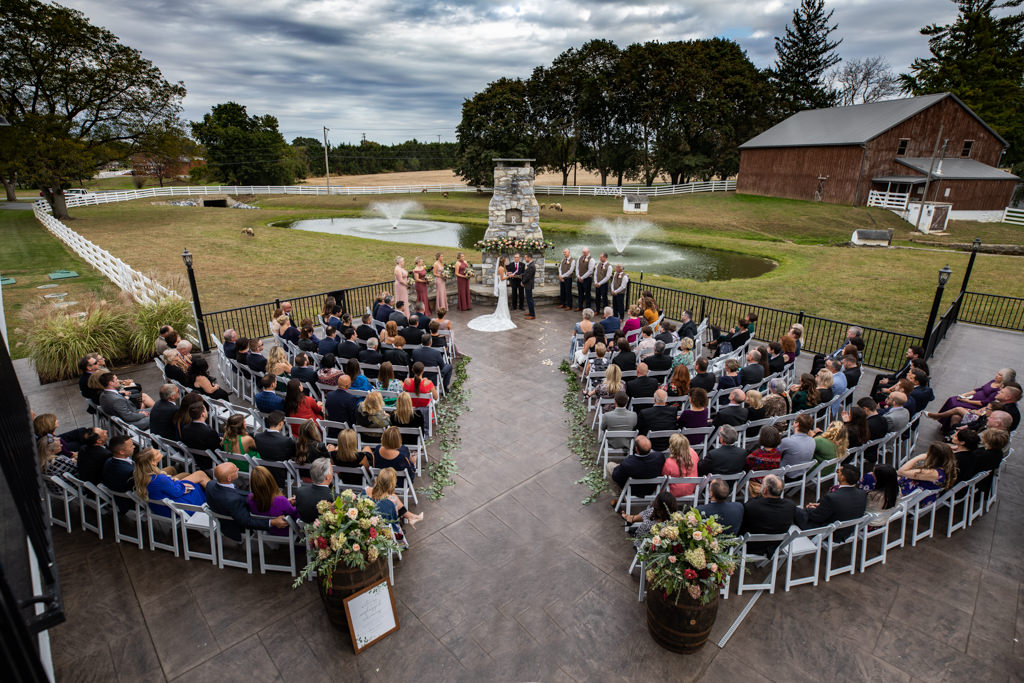 wedding ceremony at the barn at silverstone